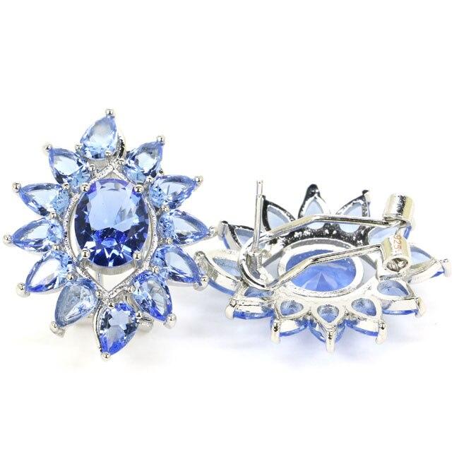 Stunning Reiche Blau Violet Tanzanite frau Geschenk 925 Silber Ohrringe 29x23mm