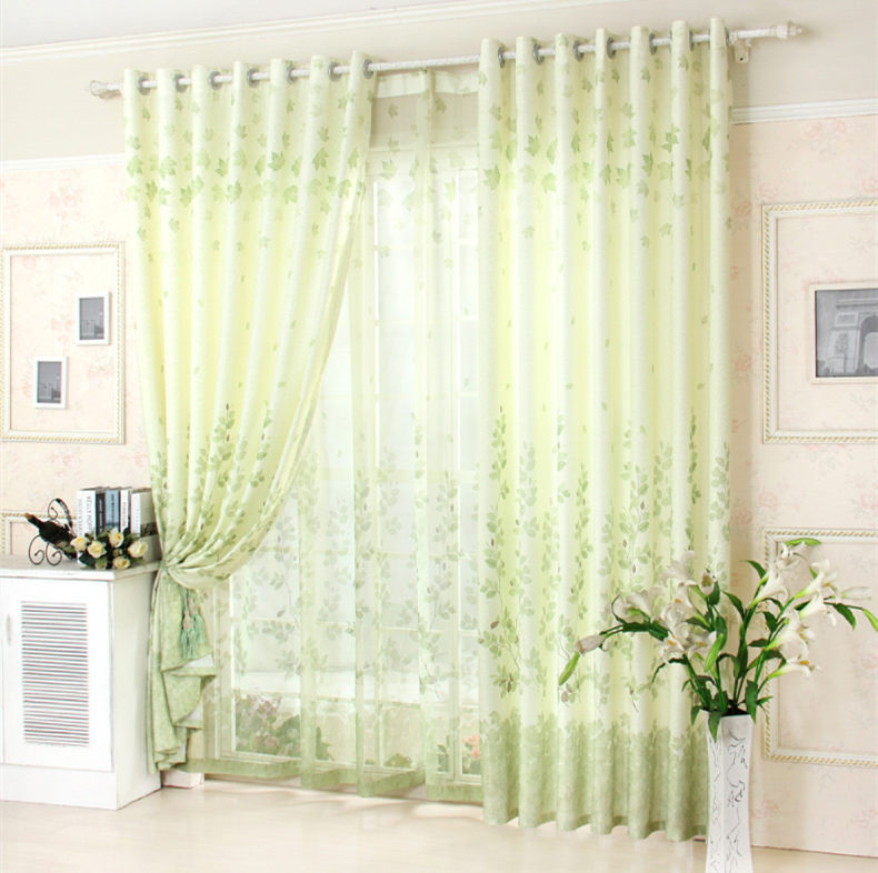Hot Pastorale Rattan Light Green Bedroom Curtain Fresh