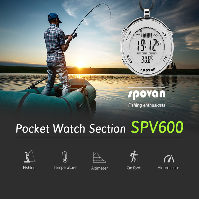 HOT Fishing Pocket Watch Multifunctional EL Backlight Water Resistant Meter Barometer Thermometer Wristwatch