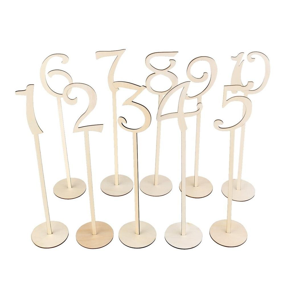 Adeeing 20 PcsWooden Table Numbers with Round Base Holder Fashion Simple Numbers Signs Ornaments Birthday Party Banquet Decor