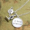 12 pçs/lote Eu Amo Colar de Ciência Ciência Jóias Biólogo Astronomist Cientista Químico Química Biologia Física