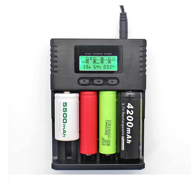 4 slots LCD fast smart battery charger tester for 1.2V ni-mh 3.7v li-ion 3.2v lifepo4 AAA AA 10440 14500 18650 26650 16340 ty uniquefire bc u8 4 slots battery charger for 14500 16340 17335 aaa more black silver