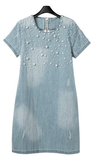 Plus Size Denim Blue Maternity Dresses 2
