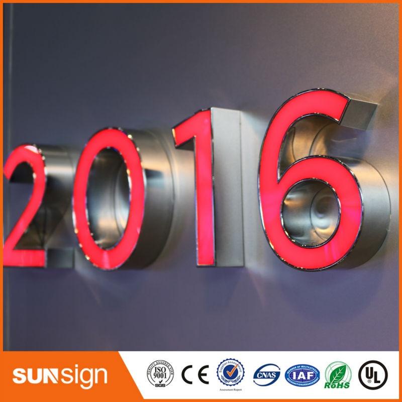Оптовая продажа из нержавеющей стали Chrome Metal LED 3D буквы ...