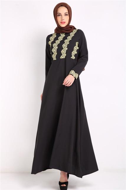 Mode Abaya Muslim Panjang Gaun Mewah Poliester Hitam Pakaian Wanita