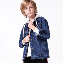 5-12 Yrs Boys Denim Jackets Teens Over Coat With Hooded Brand Good Quality Jacket For Boy Fall Winter Casual Kids Outwea