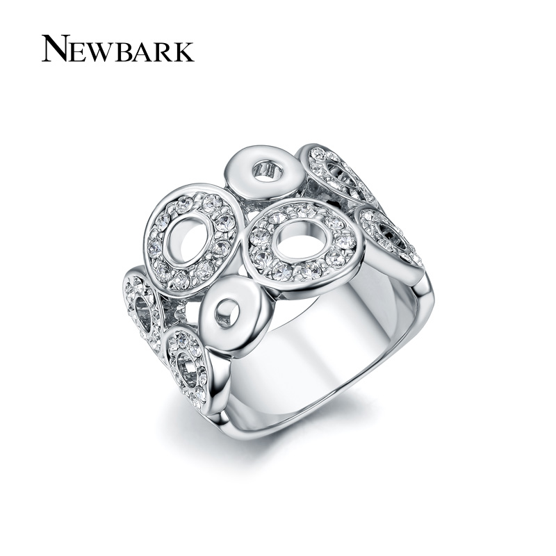 NEWBARK Classic Big Ring Round Fashion Clear CZ Accessories Rose Gold And Silver Color Cocktail Crown Rings For Women Bijoux