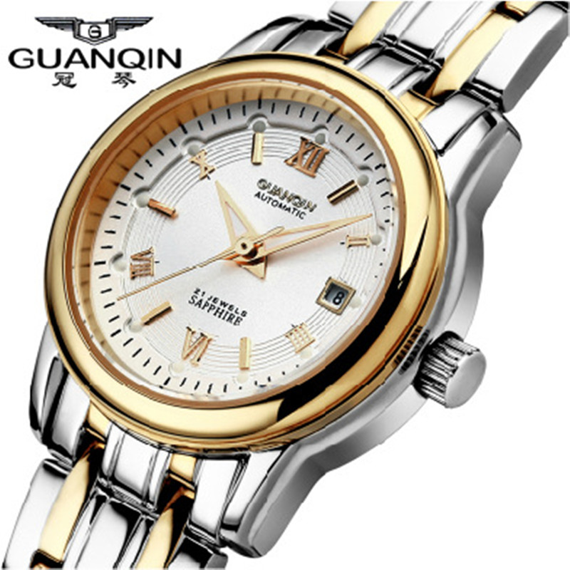 Fashion Women Watch 2016 Brand GUANQIN Mechanical Watch Woman Waterproof Calendar Watch Women Ladies Wristwatches Montre Femme real amount of ceramic fashion set auger waterproof quality precision rotary calendar watch brand man woman a good watch
