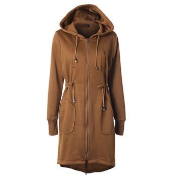 2019 Autumn winter New women's Coats drawstring waist hooded zipper jacket Long section Irregular pendulum keep warm coat casual