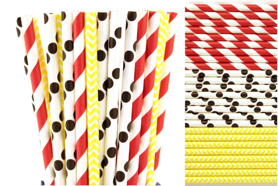 Free Ship 200pcs Mickey Minnie Mouse Paper Straw Mix Red Striped Black Polka Dot Yellow Chevron Birthday Party Drinking Straw