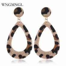 WNGMNGL New Korean Fashion Leopard Print Drop Earring Vintage Exaggerated Long Statement Plush Dangle Earrings For Women Jewelry