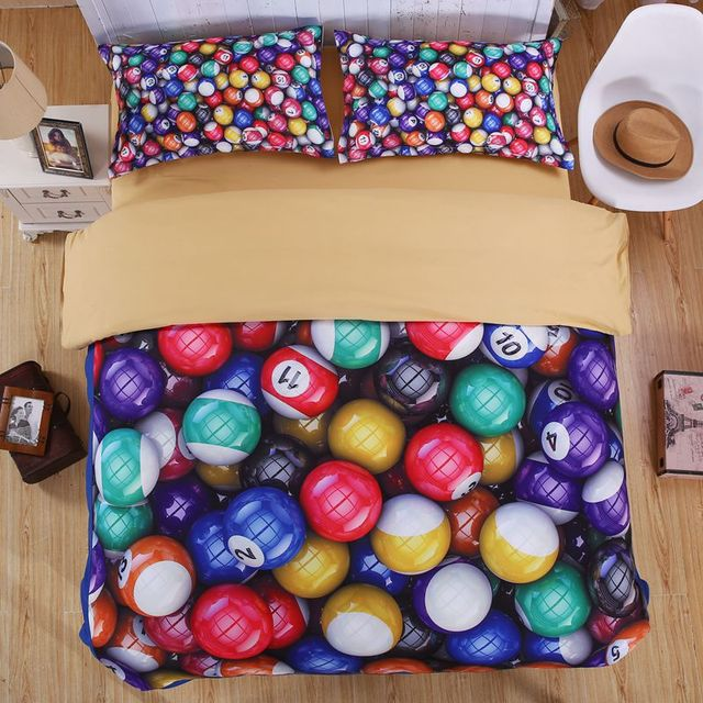 Colorful Printed Snooker Glow Bedding Set  Linens set Fabrics For Bed Linen Bedspread/bed cover/bed sheets Cheap Home Textile