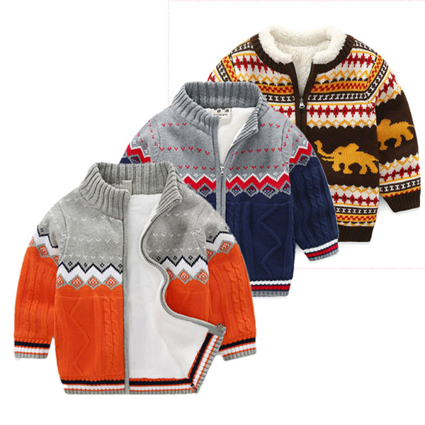 Children's clothing sweater thick cotton cardigan jacket
