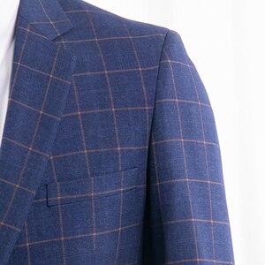 Image 3 - ダークブルー市松スーツ男性ブルーチェックスーツテーラーメイドの男性スタイル市松ドレススーツパンツ、 2019 ファッション衣装確認 Mesure