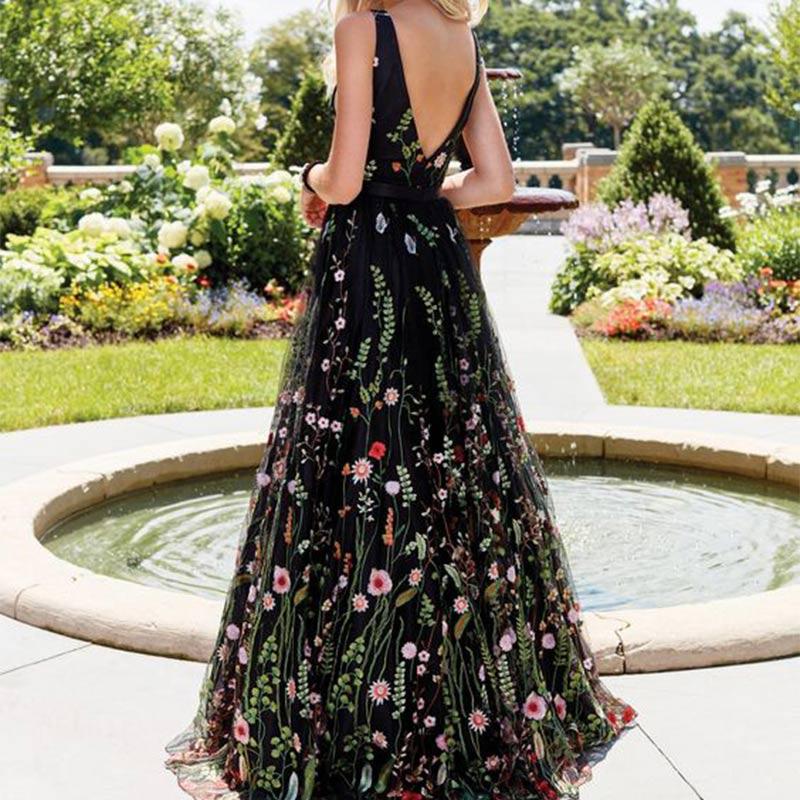 Broderie florale dame robe vestido de festa femme robe longue été sexy col en v robe pour les femmes partie dos nu maxi robes