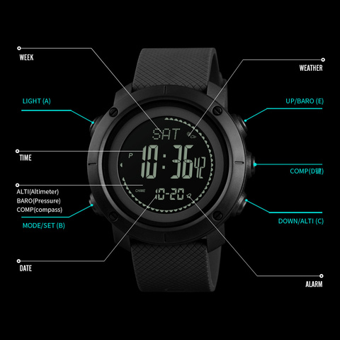 SKMEI Brand Mens Sports Watches Altimeter Barometer Compass Thermometer Weather Men Watch Pedometer Calories Digital Watch Women Multan