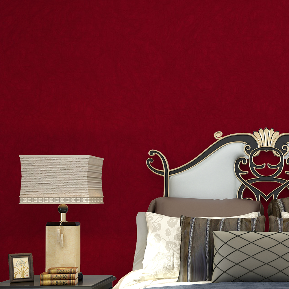 HaokHome Solid Color Non Woven Wallpaper Dark Red Modern Silk Wallcovering Simple Wall Paper for Livingroom Bedroom Decor