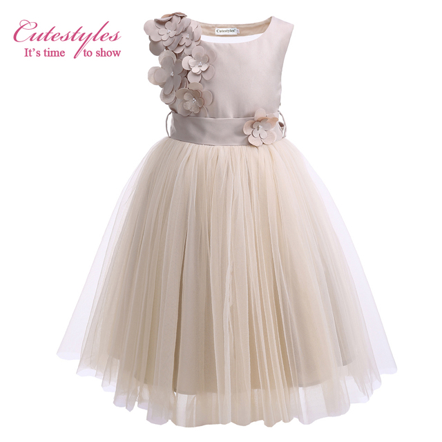 6e2e6366f7155 US $300.07 5% OFF|Cutestyles 2019 Sleeveless Champagne Girls Wedding Dress  Teenager Girl Party Flower Dresses Children Dinner Dresses Wholesale-in ...