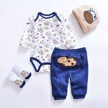 4pcs Cotton Romper+Pants+Shoes+Hat Set
