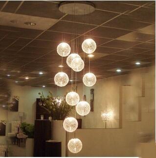 Staircase long chandelier modern minimalist restaurant art living room aluminum wire spiral double staircase lamp TA10162|modern minimalist|chandelier modern|double lampe - title=