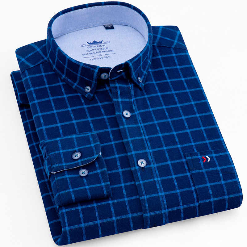 Blue Plaid Mens Shirt Oxford Pure Cotton Autumn Luxury Casual Camisa Fashion Slim Fit chemise homme Checked Male Clothes 4XL 5XL