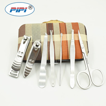 7pcs Stainless steel Manicure Set Nail Care Tools Pedicure Nail Clipper Kit with Mini Finger Nail Cutter Clipper File Scissor stainless steel nail clipper silver