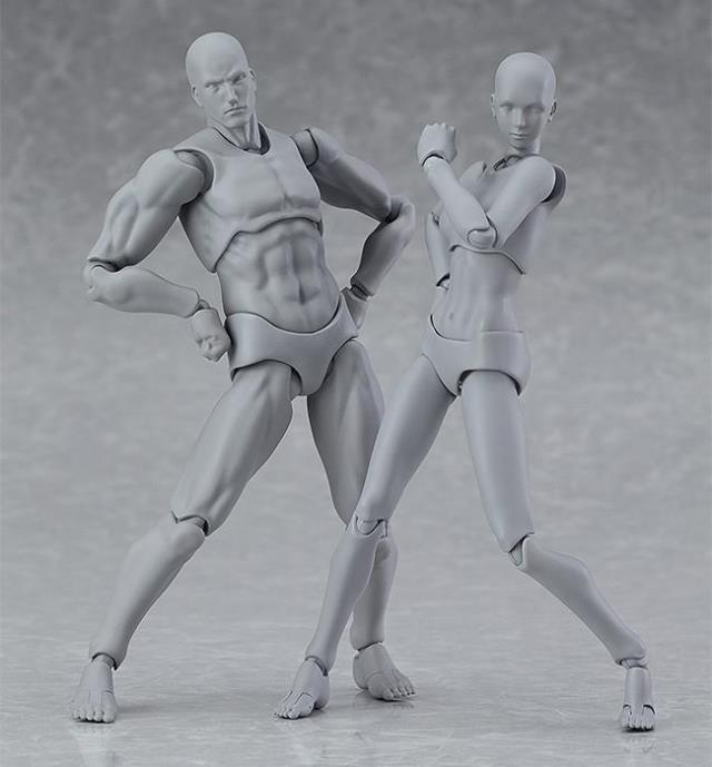 Classic style14cm Gray Naked Figma male female youth version 2.0 Movable model The sketch naked mannequin Anime prototype Body