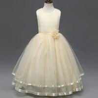 2017 High Quality Flower Girl Wedding Dress European Style Girls Solid Bow Princess Long Frock Design