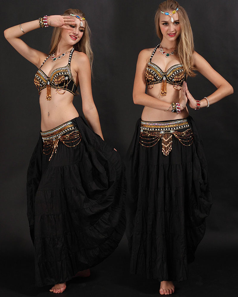 High Quality Handmade Belly Dance Tribal Costume for Women Belly Dancing Bra and Belt Set