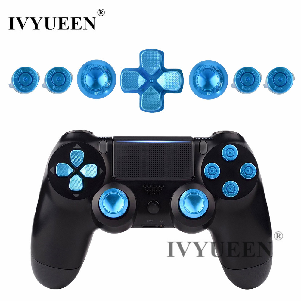 IVYUEEN Para PlayStation 4 PS4 Pro Slim Controlador analógico de aluminio azul Thumb Sticks + Metal Dpad 9 mm Botones de bala Mod Kit