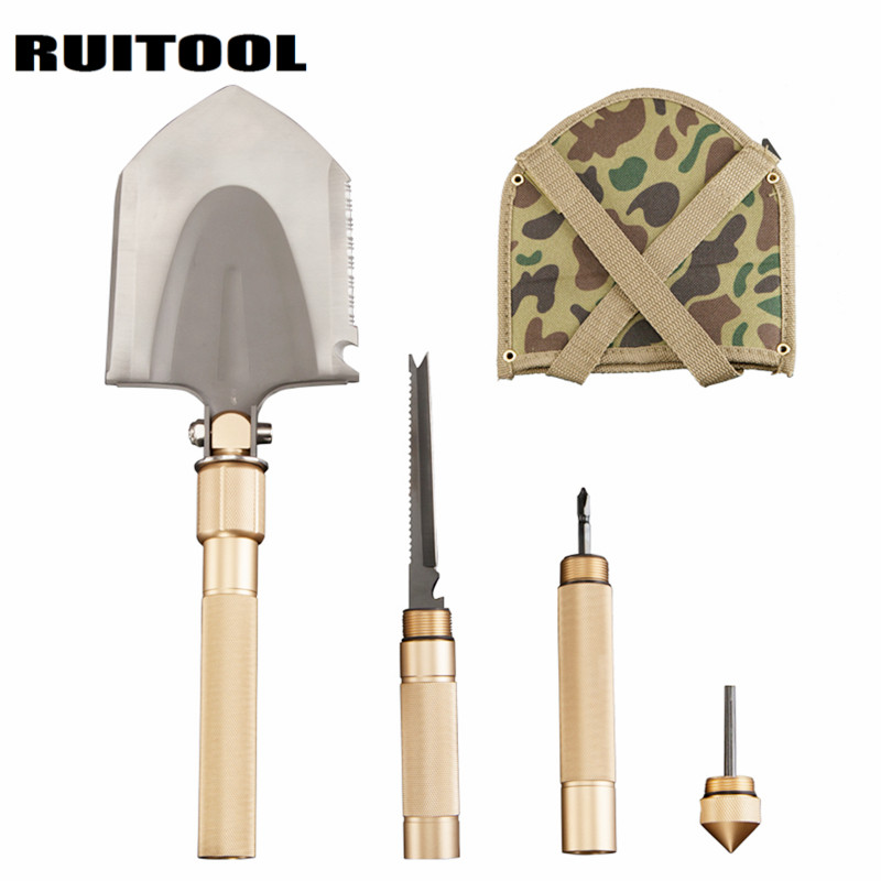 RUITOOL Multi-function Folding Shovel Military Spade Shovel Safety Hammer Camping Hiking Outdoor Tool camping military survival shovel trowel multi function portable folding spade shovel dibble pick emergency tool equipment