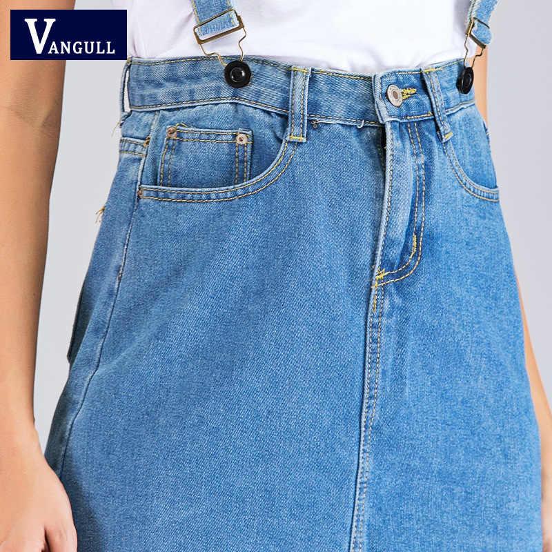 Vangull Vrouwen Hoge Taille Jarretel Denim Rokken Nieuwe Verstelbare Riem A-lijn Mini Denim Rok Student Jumper Overall jeans Rokken