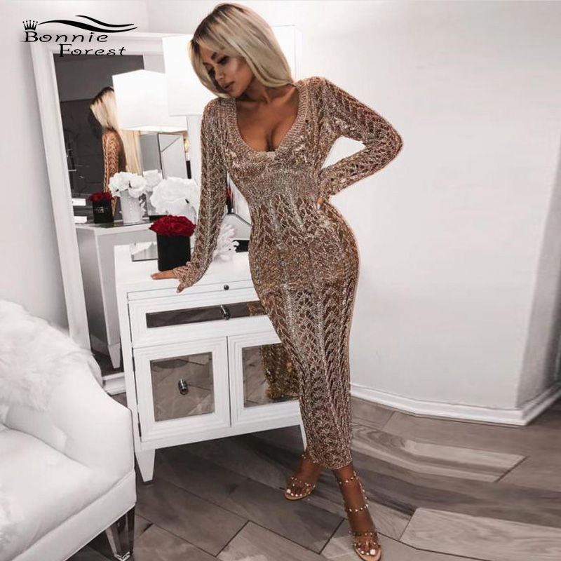 Bonnie Forest Long Sleeves V Neck Gold Metallic Large Crochet Maxi Dress Gown Sheer Metallic Knitted Sweater Wrap Beach Dress