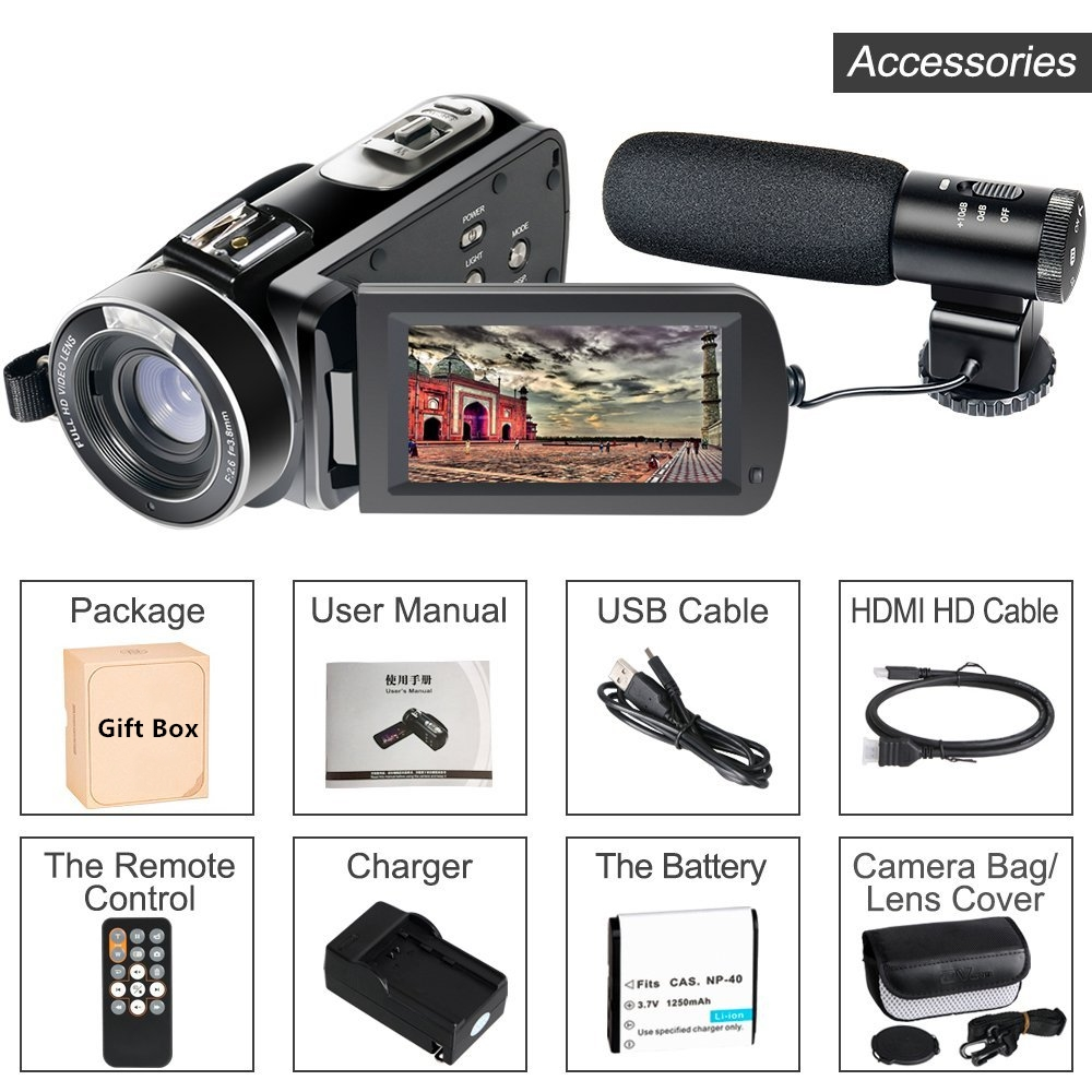 Free Shipping Hot Wifi Camcorder Full HD 1080P 30FPS Portable Digital Video Camera with External Microphone (HDV-Z20)
