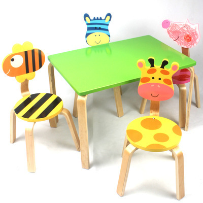 Children Furniture Sets 1 desk+4 chairs sets solid wood kids Furniture sets cartoon animal kids chair and study table sets hot