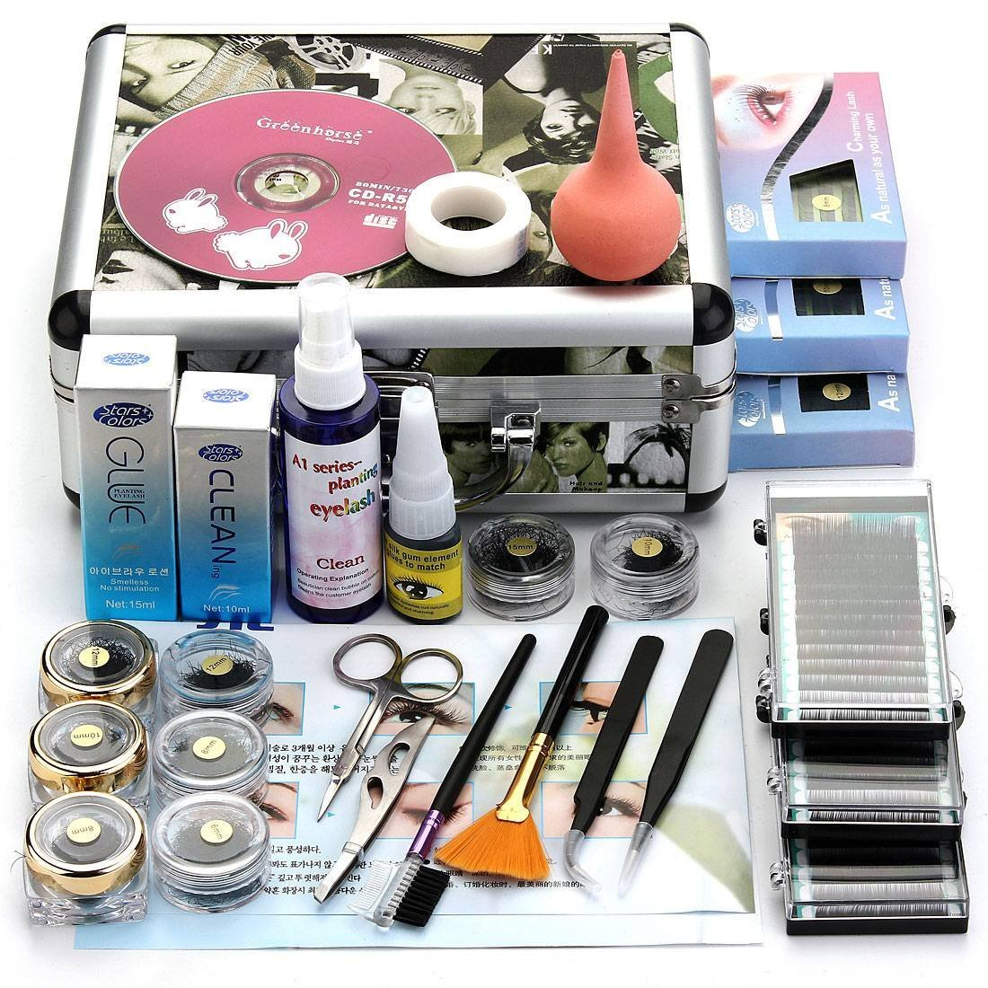 Professional False Eyelash Extension Cosmetic Makeup Kit Set with Case Salon Tool Gift new professional eyelashes extension kit false eyelash lashes makeup set with silver box case salon tool