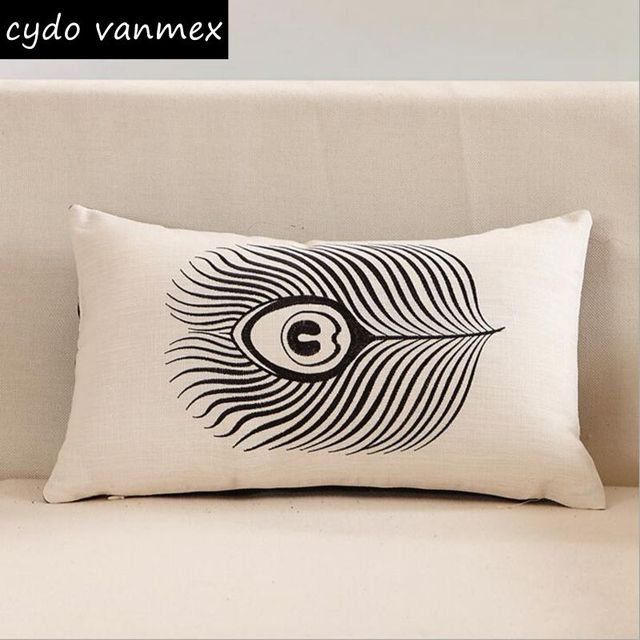Black And White Embroidered Cushion Cover 30x50cm Rectangle Shape Sofa Chair  Throw Pillow Case Feather Fish