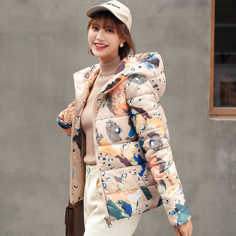 2019 Winter short   parkas   coat Casual Thick warm hooded printed short jacket coat sintepon winter jacket coat