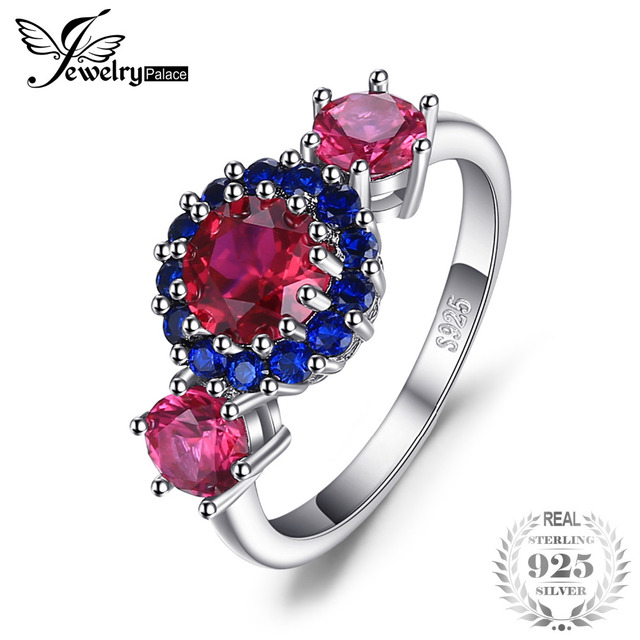 JewelryPalace 2.5ct Created Red Ruby Blue Spinel 3 Stone Ring 925 Sterling Silve