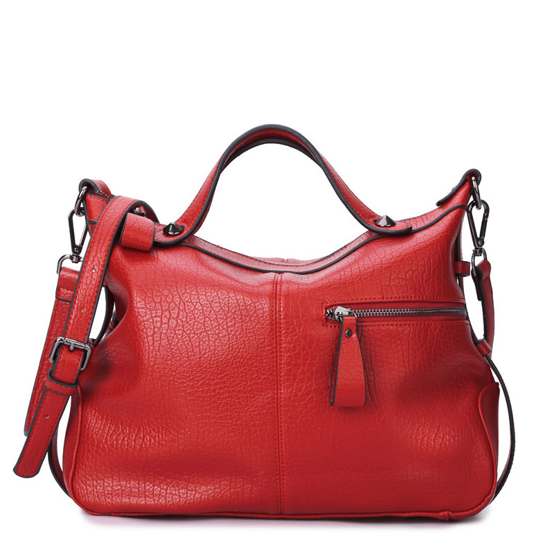 Japan And Korean Style Pillow shaped Casual Hand Bag Ladies Black Red PU Shoulder Bag Luxury