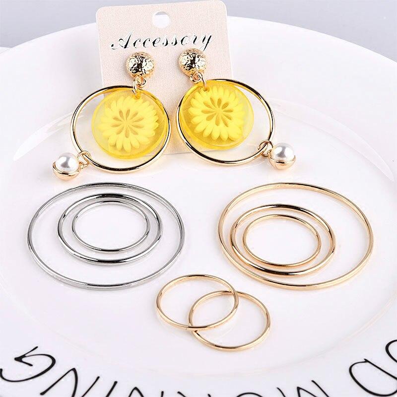 Korea Geometric Minimalist Alloy Electroplated Circular Circle DIY Earrings Accessories Material Package