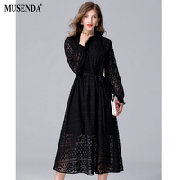 MUSENDA Plus Size Women Black Hollow Out See Through Lace Lining Tunic Sashes Draped Long Dress