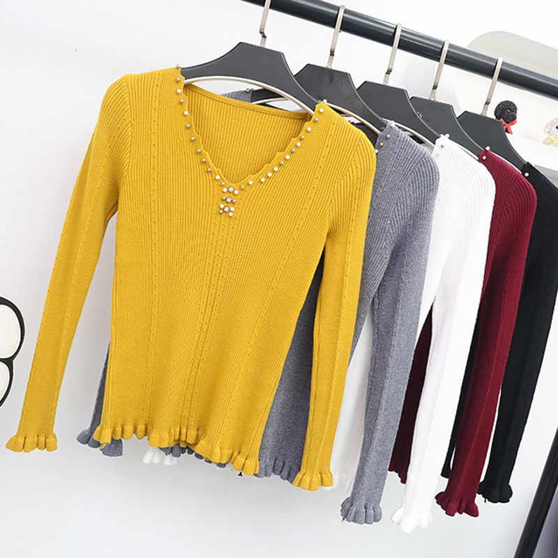 Весна осень женский свитер 2019 Новая мода Бисероплетение v-образным вырезом Трикотажные топы твердые тонкие эластичные трикотажные пуловеры свитер женский Y87