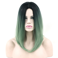 Soowee Black To Green Ombre Hair Synthetic Hair Bob Wig For Black Women Straight Hair Halloween
