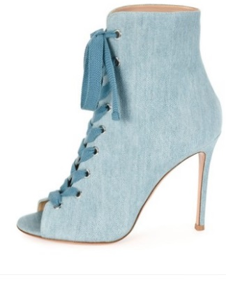 Toe Picture Grand 10 Heesls Gladiateur Bleu Bottines As Jeans Bootie Taille Sandale Denim Sexy Automne Peep Mince Printemps Lace up Bottes LpjqVSUzMG