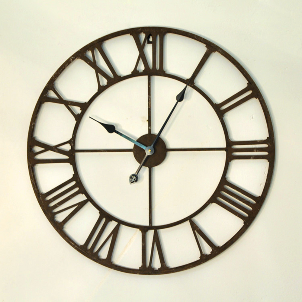 free shipping via dhl 65cm vintage iron 3d large wall clock modern design home decor. Black Bedroom Furniture Sets. Home Design Ideas