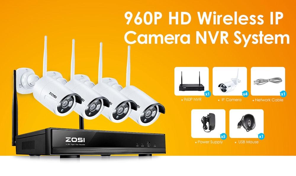 ZOSI 4CH 1080P HDMI WiFi NVR 4PCS 1 3MP IR Outdoor Weatherproof CCTV  Wireless IP Camera Security Video Surveillance System Kit