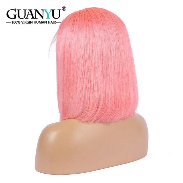 Pink Bob Lace Front Wigs Human Hair 13X4 Pre Plucked 613 Blonde Blue Red Grey Green Ombre Short Bob Wigs For Black Women Remy 2