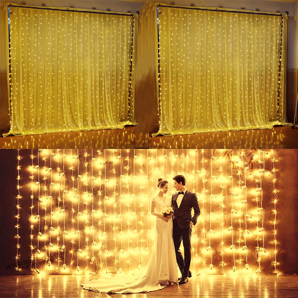 3Mx3M 300 LED 110V Window Door String Lights <font><b>Curtain</b></font> Lamp Romantic Home Wedding Decoration US Plug