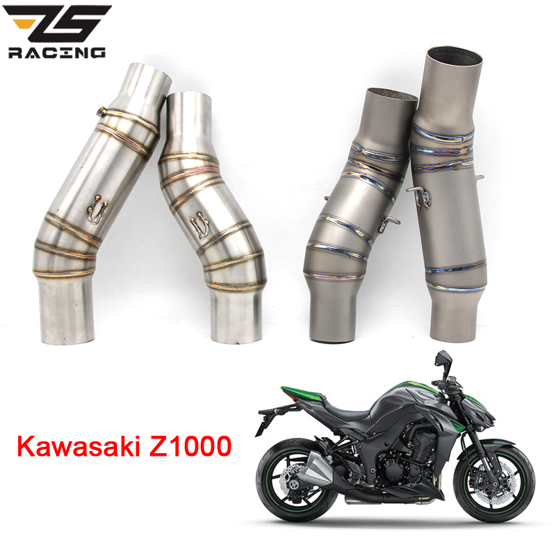 ZS Racing Motorcycle Exhaust Middle Pipe Round Muffler For Kawasaki Z1000 2010-2014 Without Exhaust Slip-On for kawasaki z1000 2010 2016 stainless steel slip on exhaust header down pipe